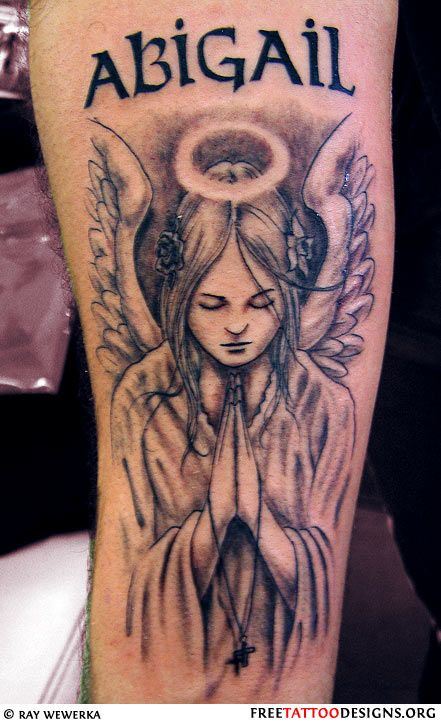 Angel Tattoo Design With Praying Hands And A Halo Beauty Angel