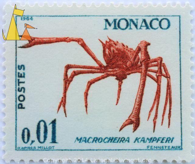 Japanese spider crab, Monaco, stamp