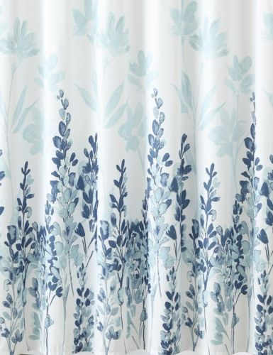 Mirage Teal Blue White Floral Flowers Fabric Bathroom Shower