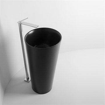 IL - Smuk fritstående sort håndvask til et moderne badeværelse ...