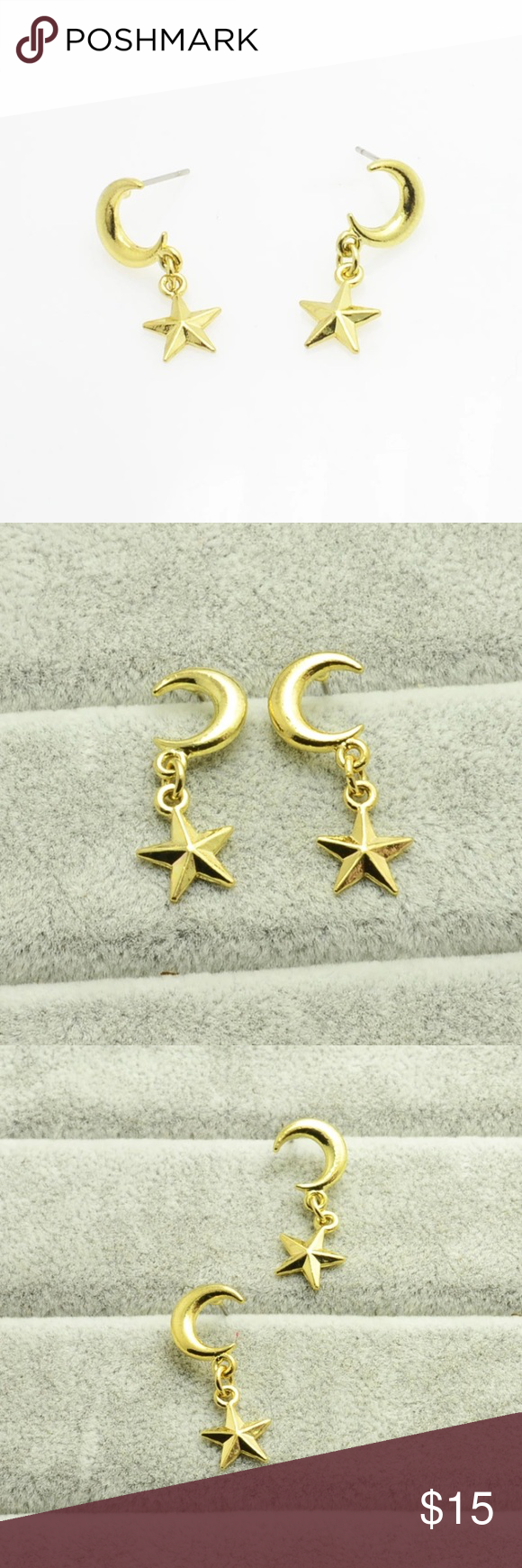 🔥 Moon star stud earrings Yellow gold plated moon star stud earrings Jewelry Earrings