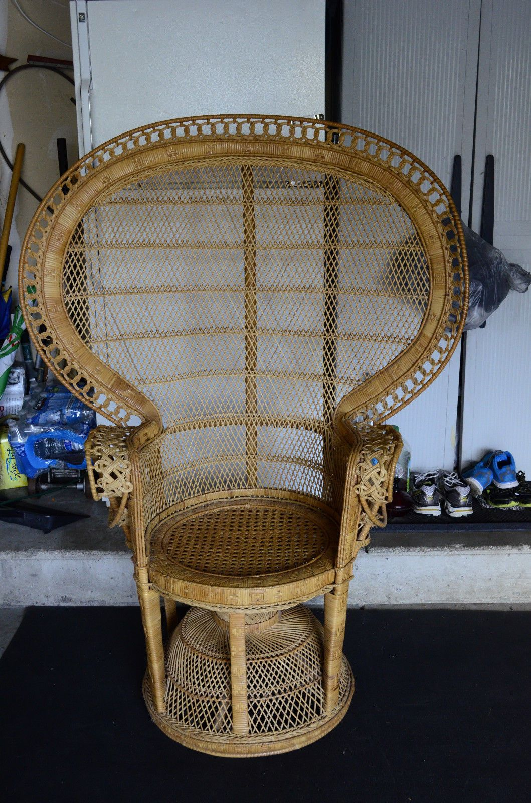 Vintage 1970s wicker rattan peacock fan back 58 tall
