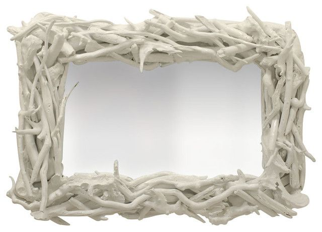 Custom Driftwood Mirror White Gloss 1 350 00 Handmade At Pieces Each One