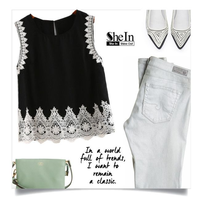 """""""Shein Top"""" by tawnee-tnt ❤ liked on Polyvore featuring AG Adriano Goldschmied and Vince Camuto"""