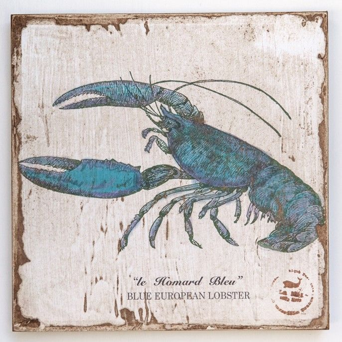 Blue Lobster Lithograph on Wood