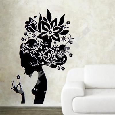 Black flower girl wall decal download