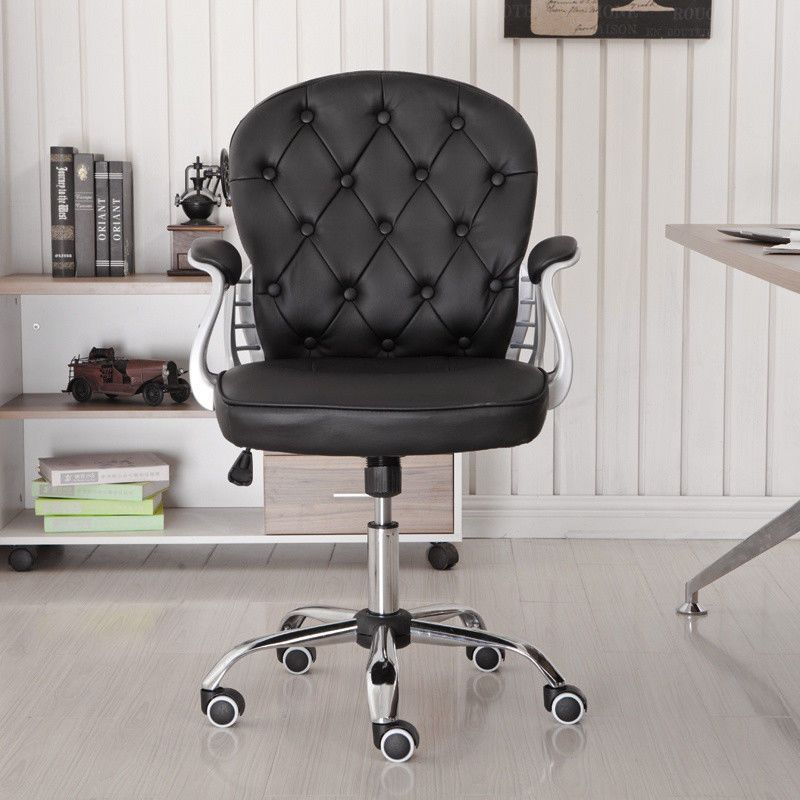 Faux Leather Black Swivel Arm Chair Upholstered Seat Home