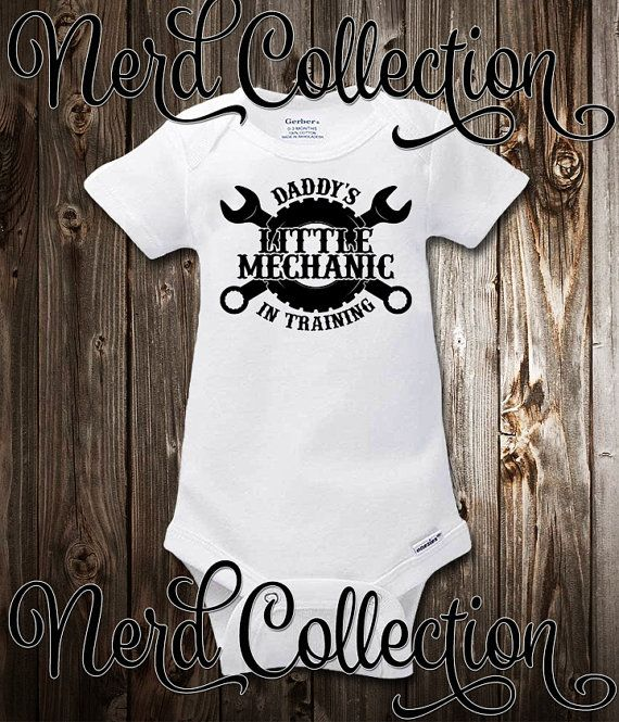 4adae5aa6 Baby Onesie Garage With Daddy Mechanic Tools Car by NerdCollection ...