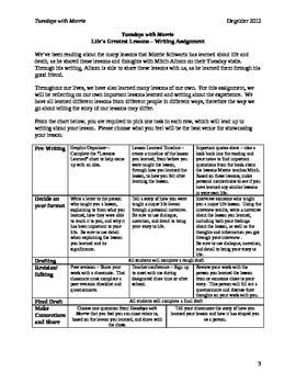 Tuesdays With Morrie Life Lesson Differentiated Writing Assignment Lesson Plan Tuesdays With Morrie Differentiated Writing Writing Assignments