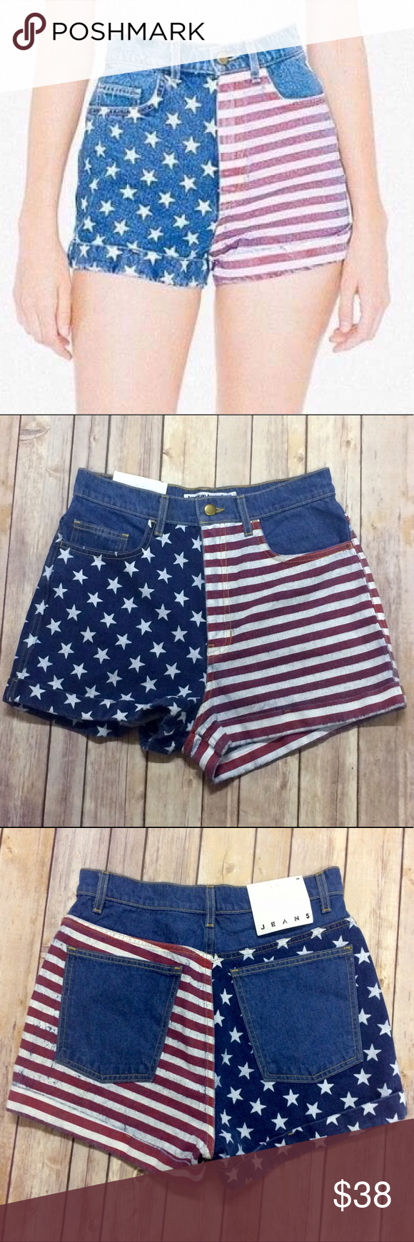 American Arel High Waisted Flag Jean Shorts 13 Rise