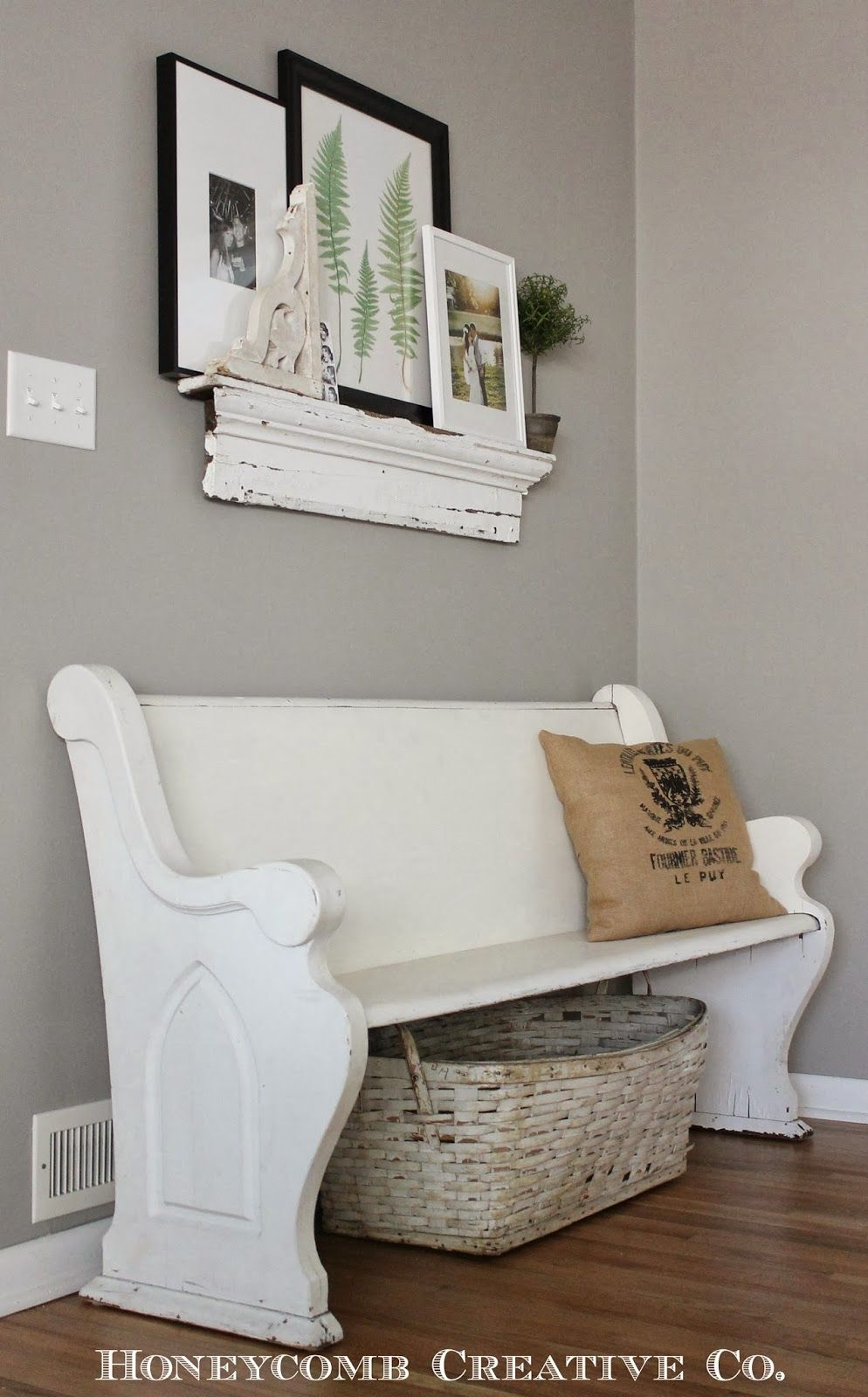 Deacons bench salvaged shelf white basket | Workshop ~ Benches ...