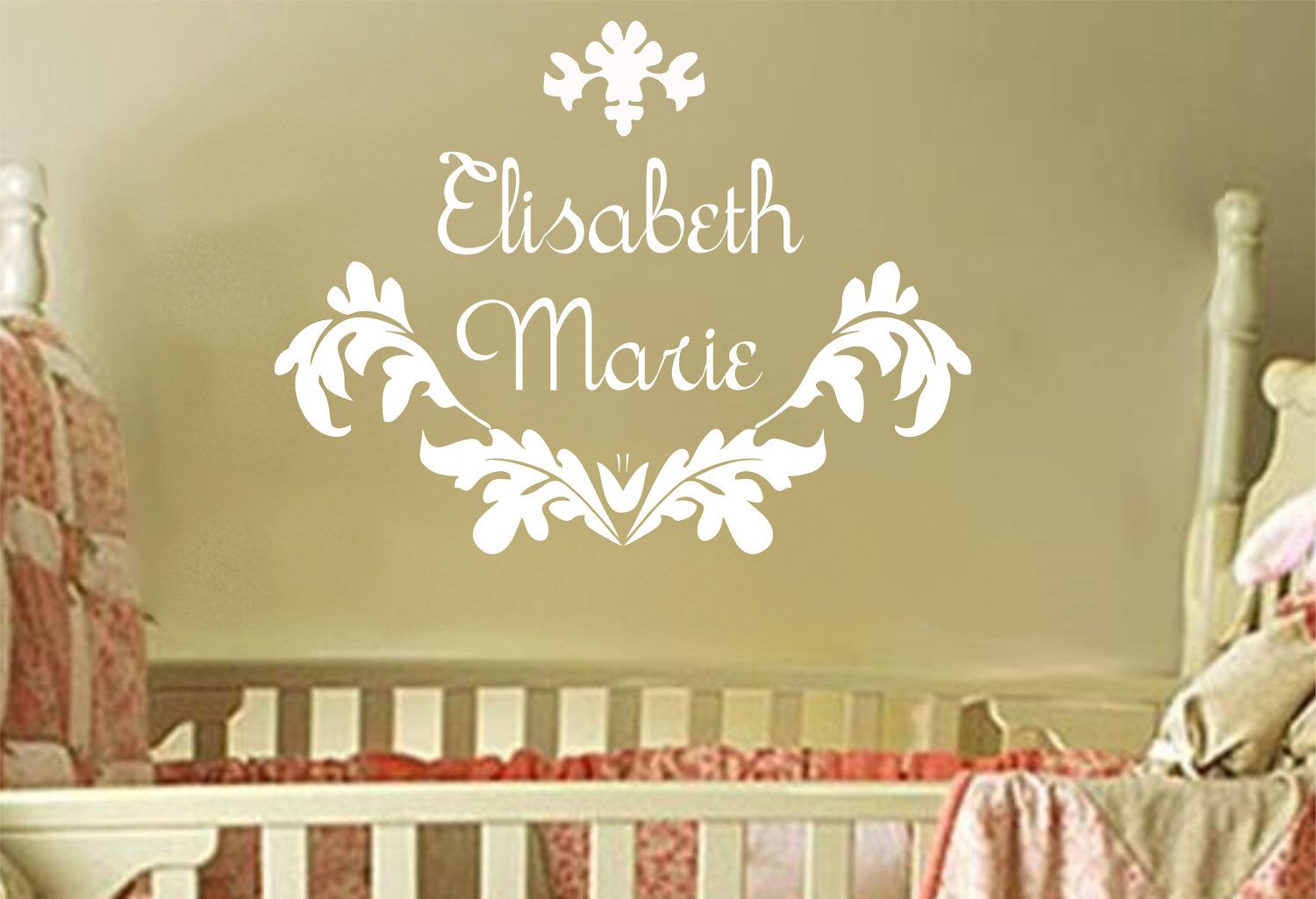 Baby Girl Name Wall Decal Damask Decals For Girls Bedroom Nursery ...