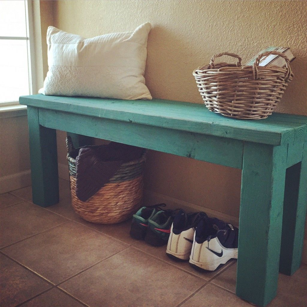 Simple 2x4 Diy Entryway Bench With Custom Mixed Annie Sloan Chalk Paint Finish This Is A Project And Open Underneath For Baskets Or Crates