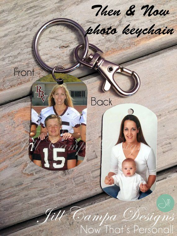 PERSONALIZED PHOTO KEY CHAIN - key tag- double-sided photo dog tag- then and now…