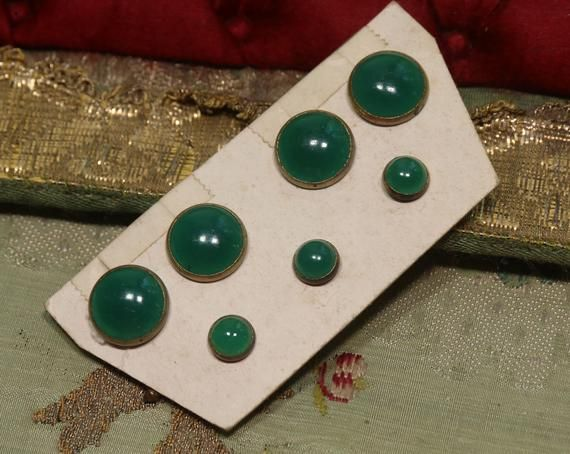 Antique glass metal buttons cuff green color victorian ribbonwork doll projects waistcoat Victorian