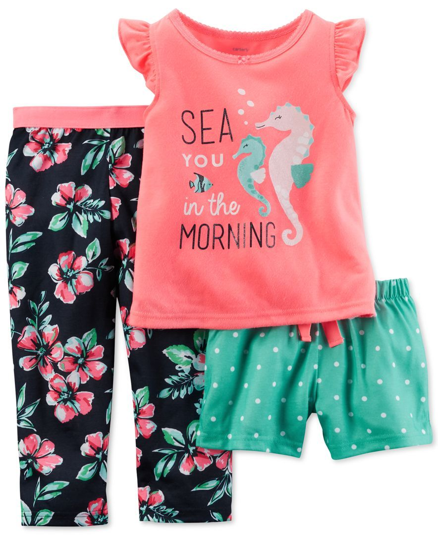 78d2e0206caf Carter s Toddler Girls  Sea You in the Morning 3-Piece Pajama Set ...