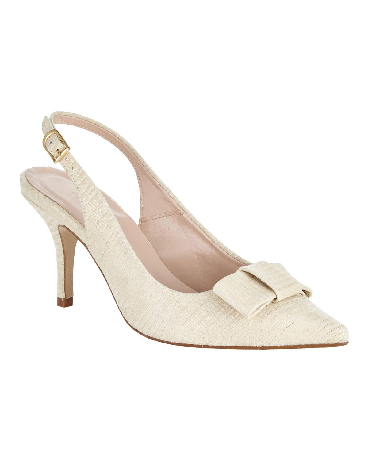 ac3eee24b9c Phase Eight Sammy Leather Bow Sling Back Shoes Cream Buy Shoes