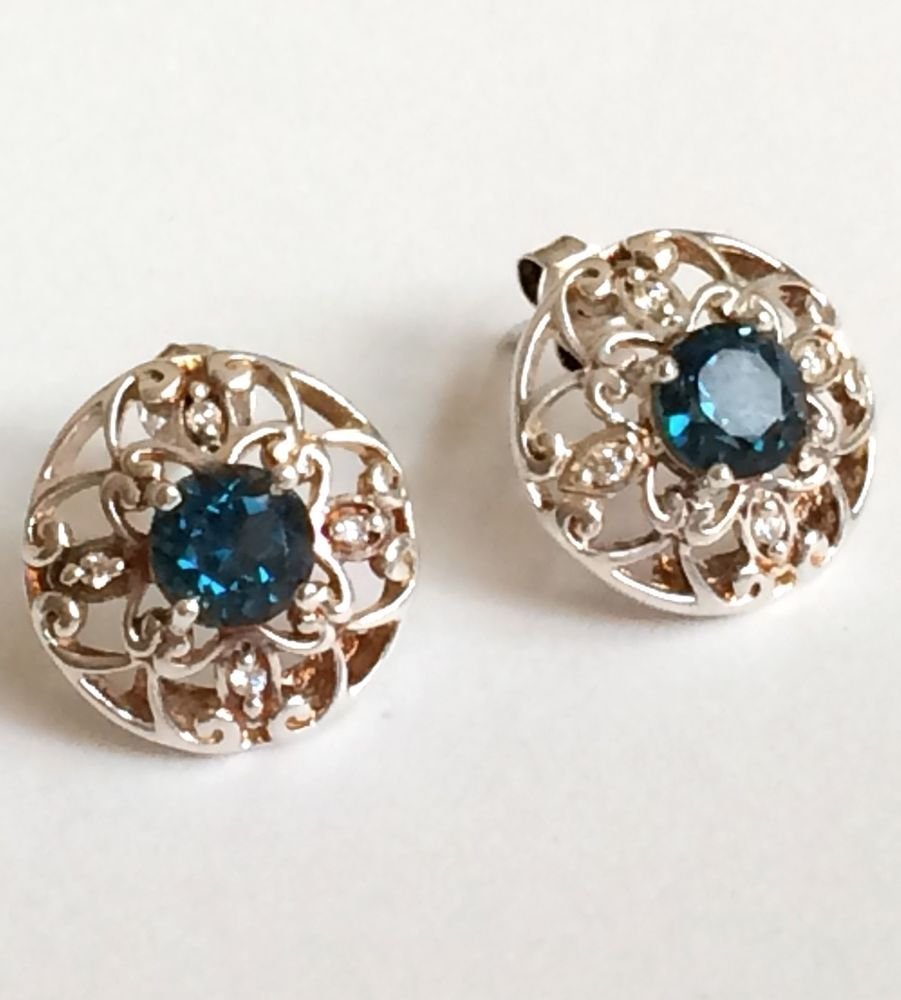 Antique Sterling Silver Cubic Zirconia Deco Flower Earrings Aqua Filigree USA #Unbranded #Stick