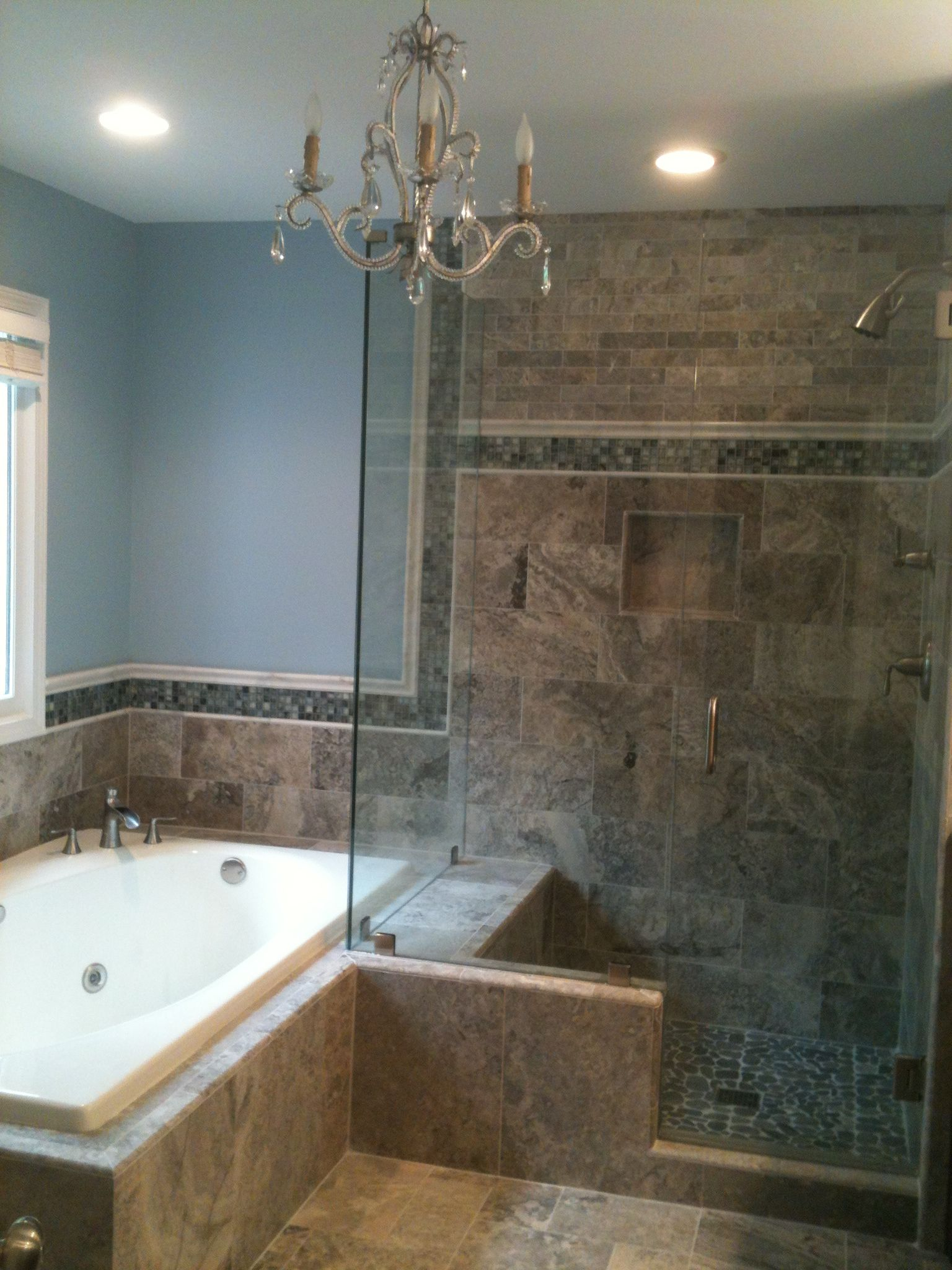 Silver Travertine With White Marble Crown Moulding And