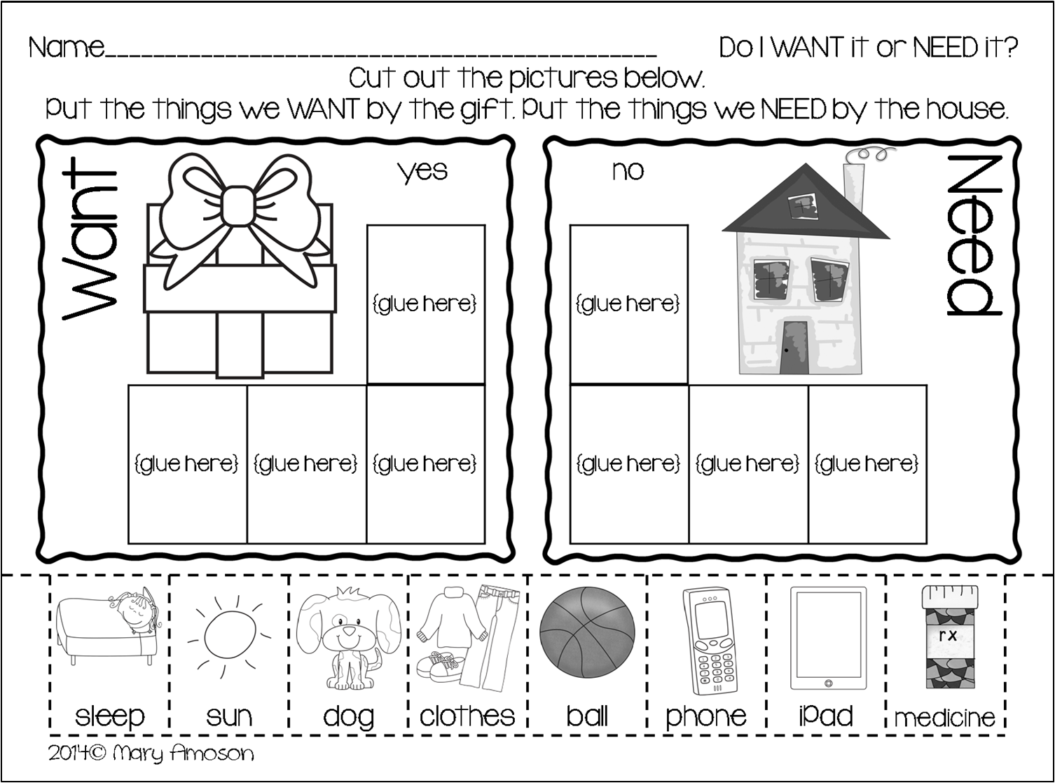 worksheet Wants And Needs Worksheet 17 best images about kinder needs and wants on pinterest anchor charts goods services emergent readers