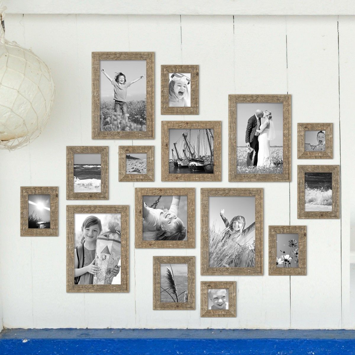 15er Bilderrahmen Set Strandhaus Rustikal Eiche Optik Natur Massivholz  10x10 Bis 20x30 Cm Inklusive