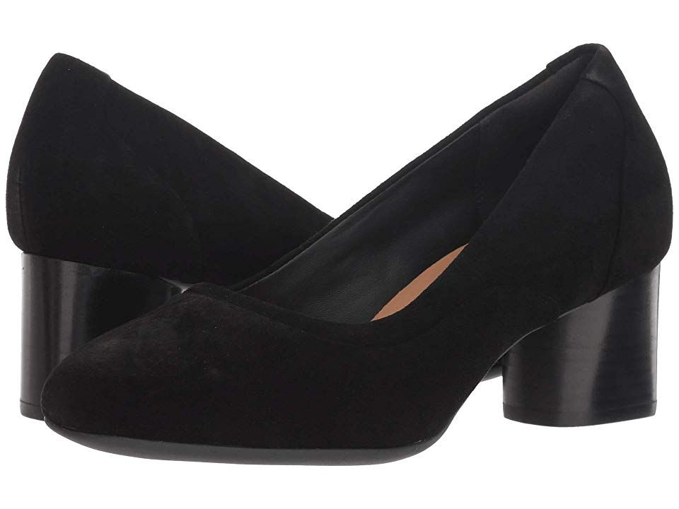 Clarks Un Cosmo Step (Black Suede) Women's  Shoes. Stand out at the office in the pretty and polished Un Cosmo Step pump from Clarks. Premium leather uppers with an almond toe. Easy slip-on style. Soft and breathable leather linings. Features a removable  leather-lined OrthoLite footbed designed to added comfort and reduce impact. Chunky heel with a stacked-look. Durable rubber outsole. Imported. Measurements: Heel Height: 2 i