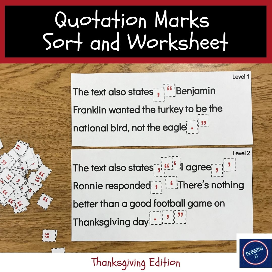 Thanksgiving Quotation Marks Sort Worksheet