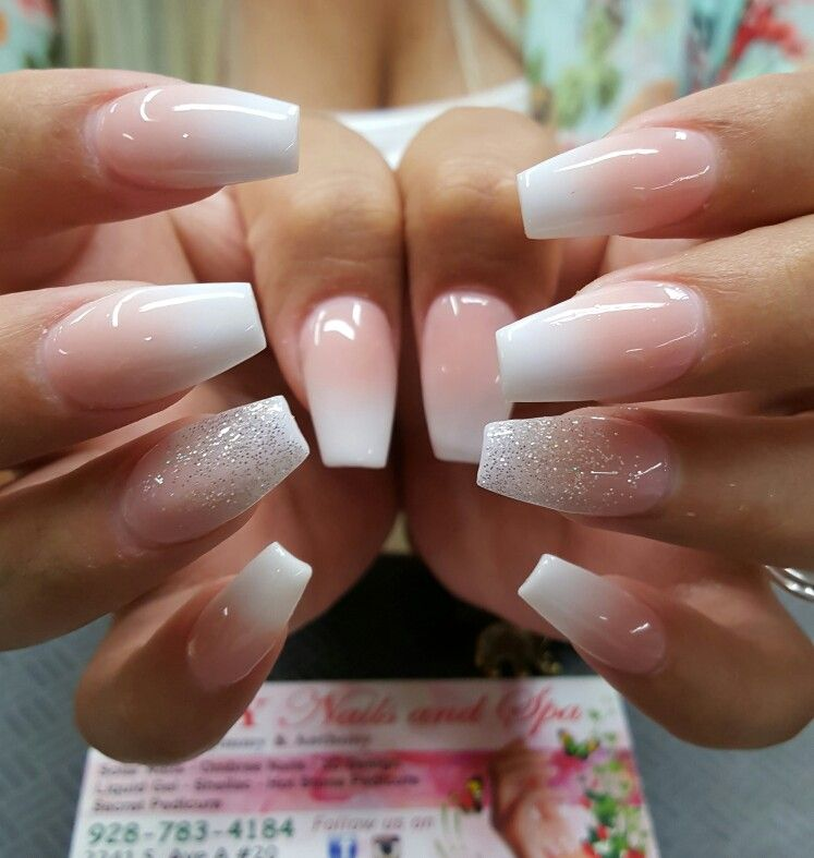 Simple medium length acrylic ombre nails with silver ...