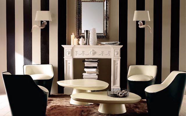 Décoration salon moderne avec des murs rayés Salons and Decoration
