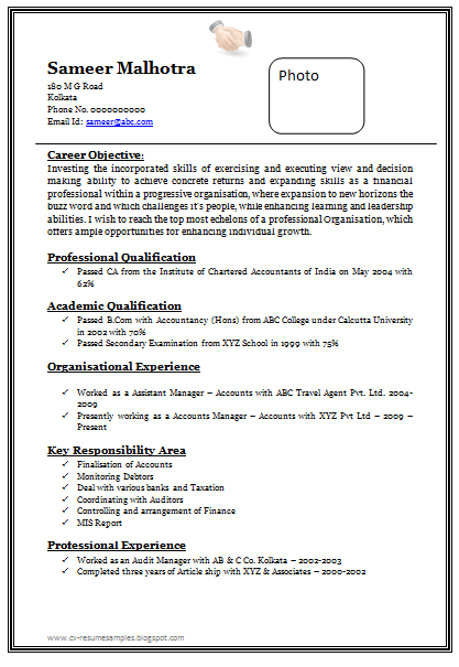 resume format sample download