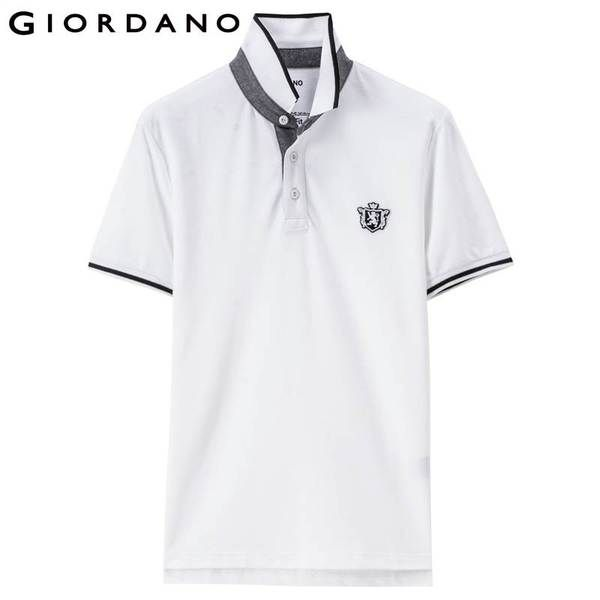 Giordano Men Polo Shirt Short Sleeves Ribbed Collar Polo Shirts