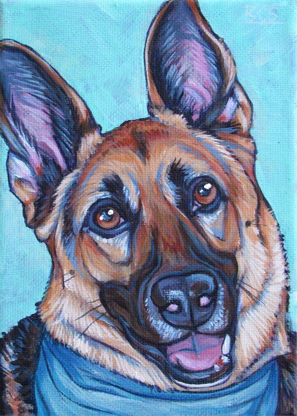 Koozy the German Shepard Dog Custom Pet Portrait with