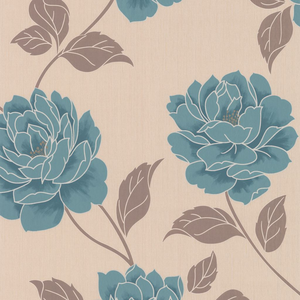 Ella Floral Teal Wallpaper Departments DIY at B&Q