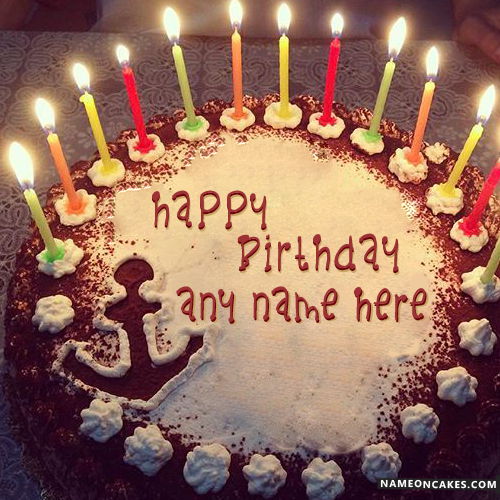 Special Decorated Candles Birthday Cake With Name