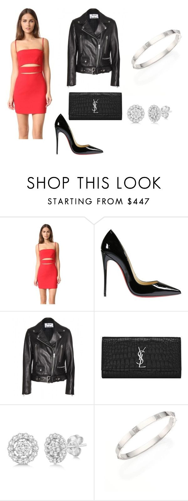 """Untitled #1048"" by alexachakir ❤ liked on Polyvore featuring Michelle Mason, Christian Louboutin, Acne Studios, Yves Saint Laurent, Allurez and Marli"