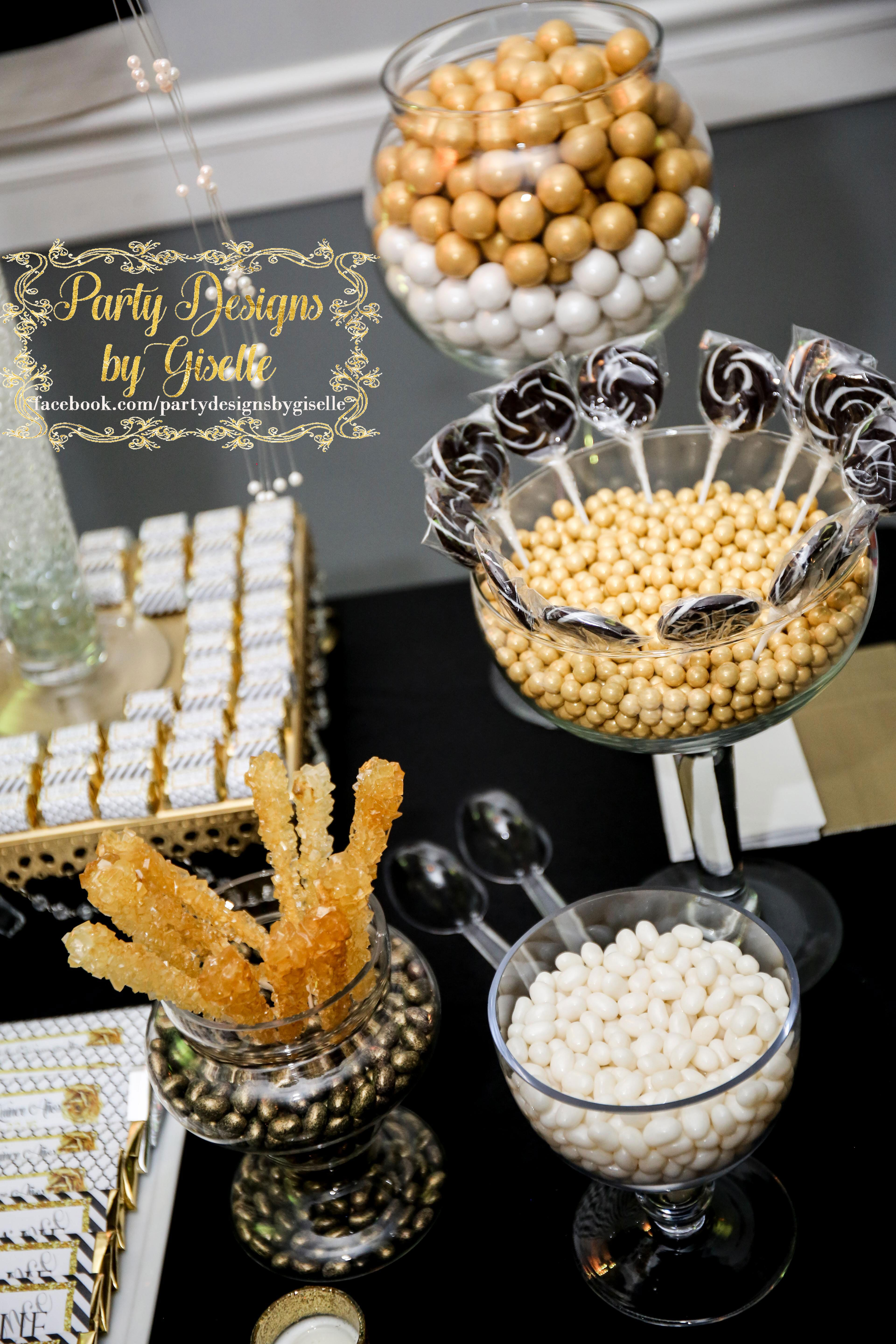 Black White Gold Candy Buffet Gold Birthday Party Gold Candy