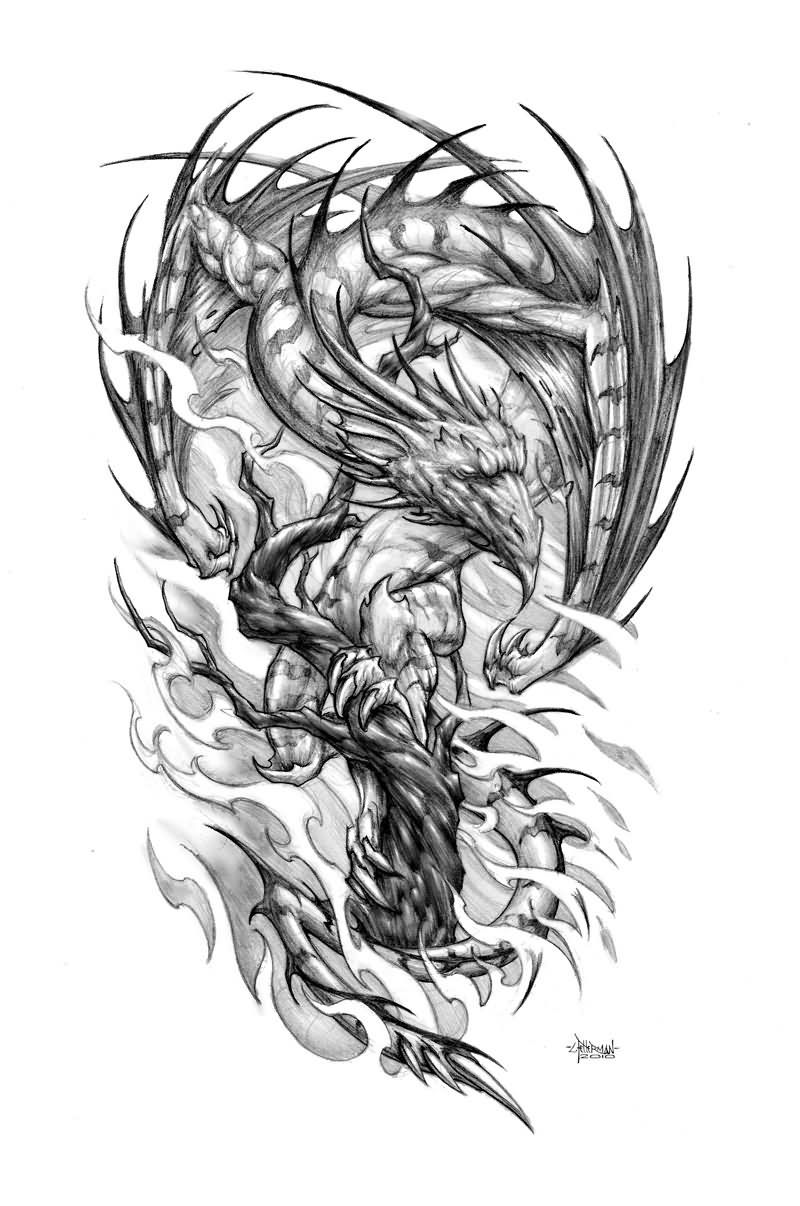 Tree Dragon Samurai Tattoo Design Dragon tattoo designs