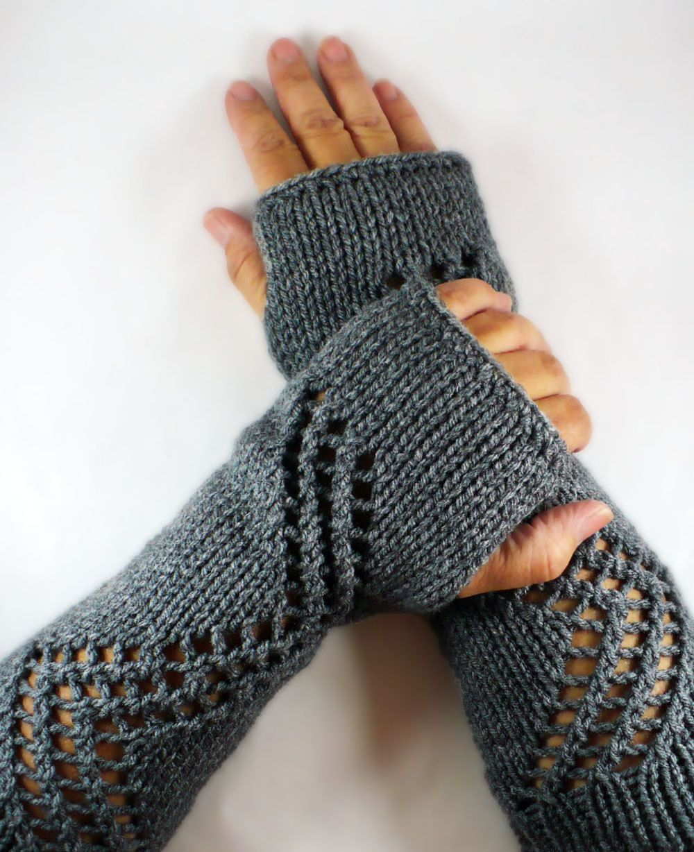 Driving gloves knitting pattern - Knit Fingerless Gloves Gauntlets Grey Lace Gloves Fall Fashion Winter Accessories Warm Gloves Winter Gloves Driving Gloves Womens Gloves