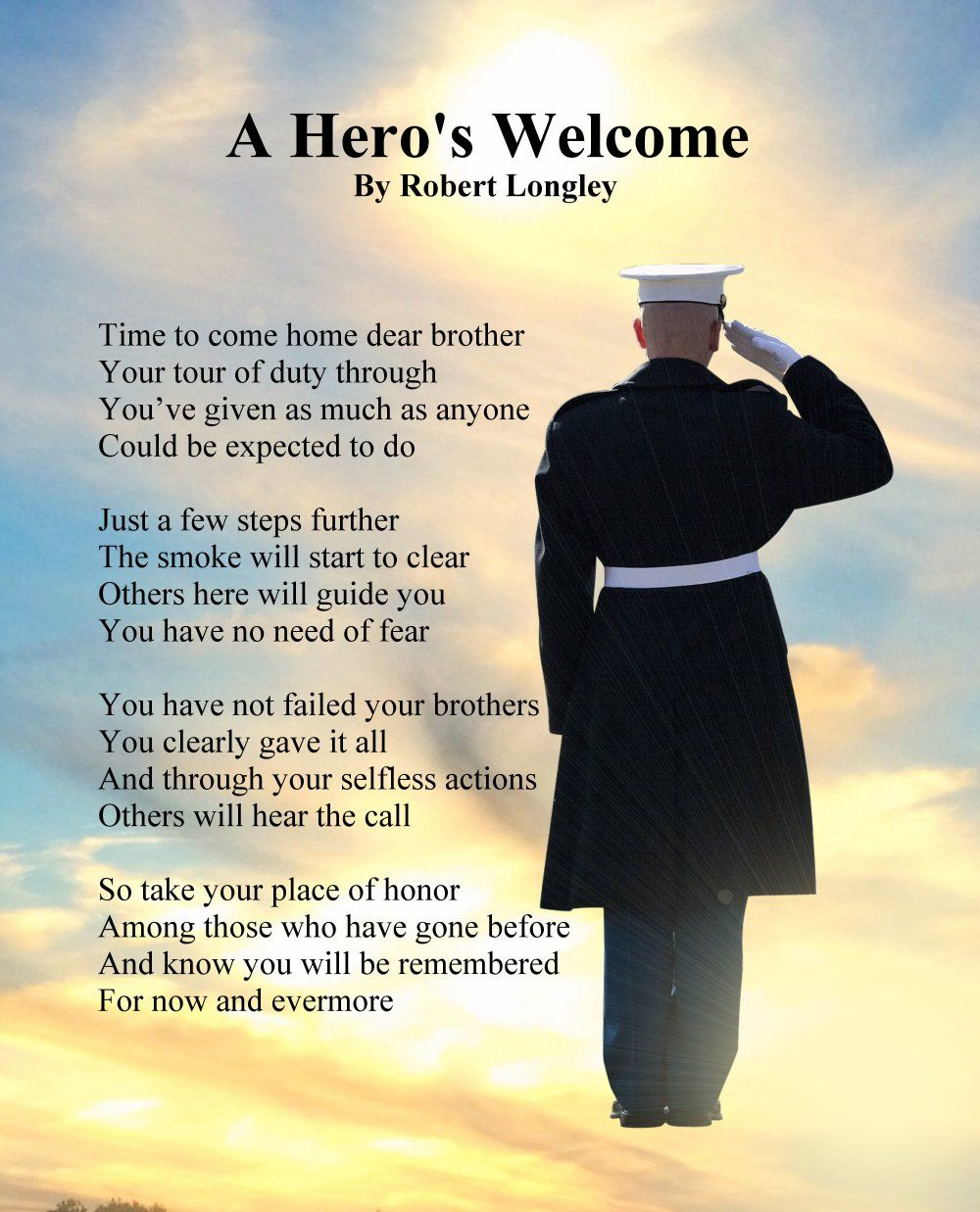 Memorial Day Christian Inspirational Quotes: A Hero's Welcome - Marines - Memorial Poem