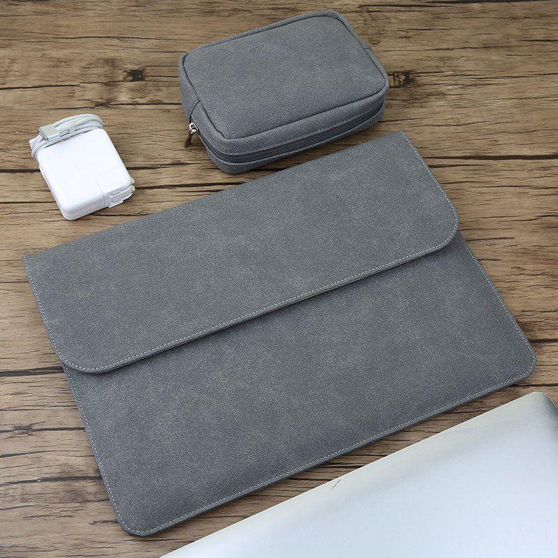 Goedkope Matte Magnetische Gesp Pu Power Pack Laptop Sleeve Bag Voor Macbook Pro Air 11 13 15 Case Retina 12 Nieuwe 13 3 15 4 Touch Macbook Macbook Pro Laptop