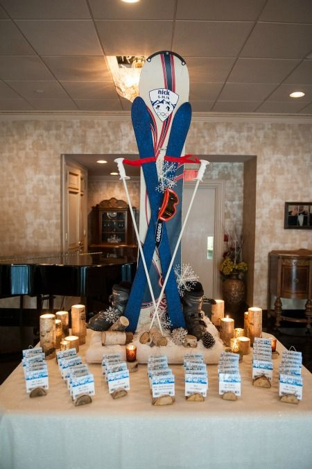 Ski Snowboarding Bar Mitzvah Theme Ideas Seating Cards Display Ira Casel Photography Mazelmoments