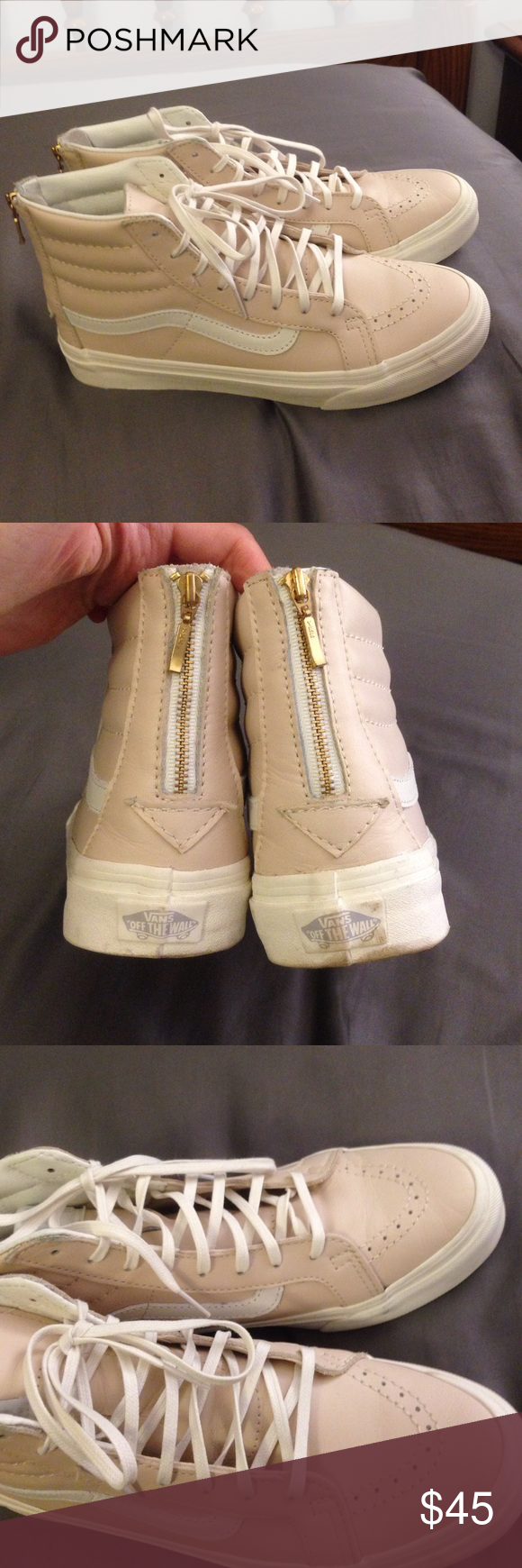 2b7017f4e3 Vans Cream Leather Skate Hi Slim Sneakers Light pink leather high top Vans  with laces and gold zip up the back. Only worn once