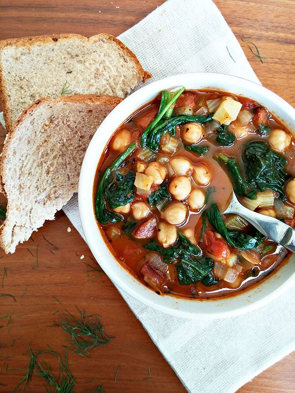Chickpea- and Spinach Soup - with spicy Sausages - add green lentils + potatoes, then add the stock and cook 12-15 min - it makes it even hearthier -This Soup is a lifeseaver....