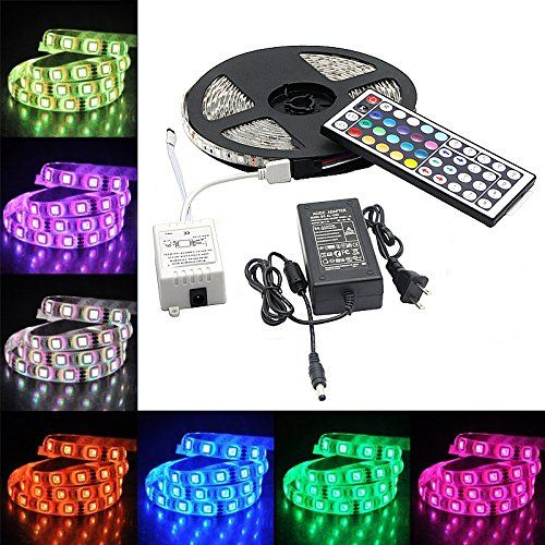 Bonlux 5m 16 4 Ft Waterproof Rgb Led Strip Light Kit With 300 Leds Flexible Strip Light 44 Key Rgb Con Led Strip Lighting Rgb Led Strip Lights Strip Lighting