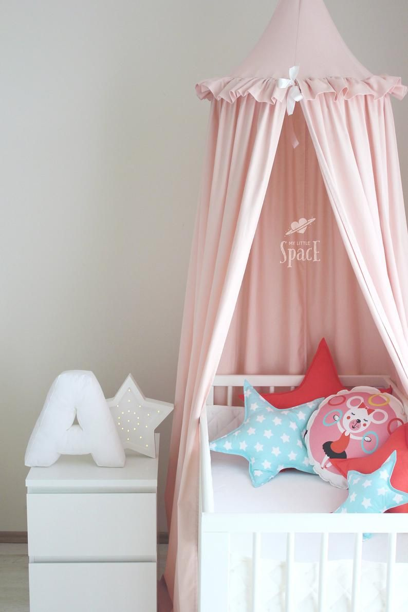 Powder Pink Cotton Bed Canopy With Frills Kids Room Canopy Etsy In 2020 Kids Canopy Canopy Kids Room Crib Canopy
