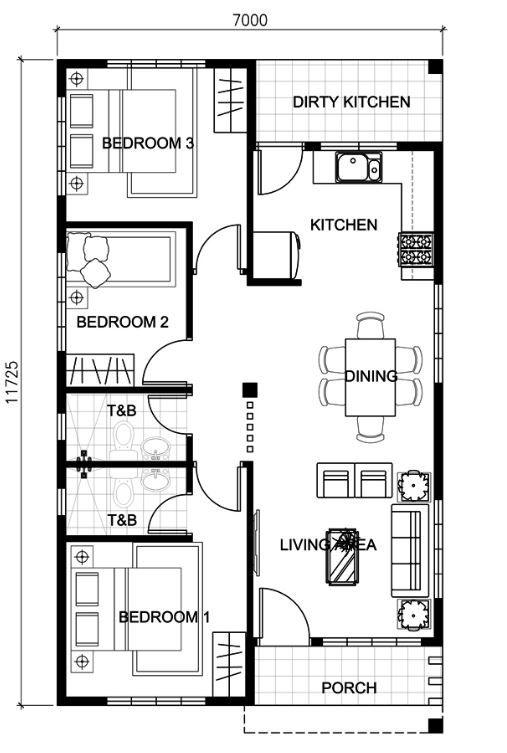 Plano de casa de 7x12 metros en una planta planos para for Planos de casas pequenas de una planta