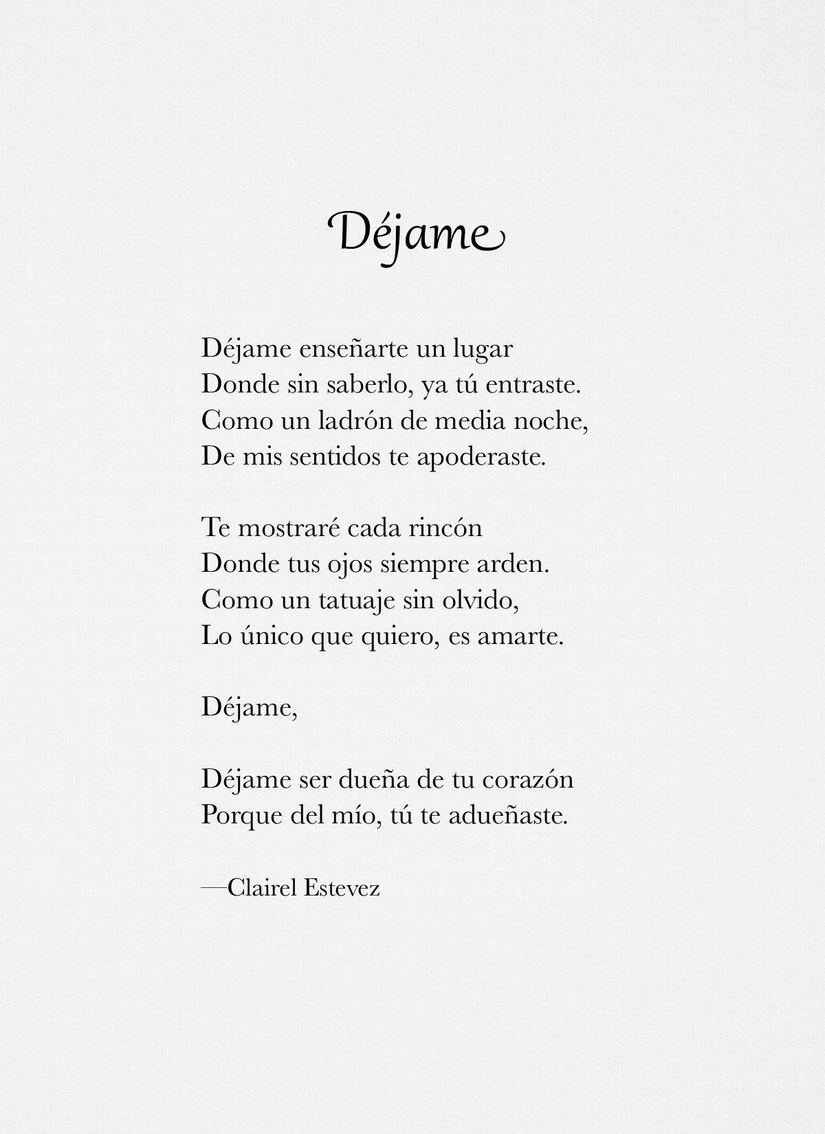 Sigue @clairelestevez en Instagram ┄⊱♡⊰ Dejame ⊱♡⊰┄ Poemas, Poesías, Palabras, Letras, Escritos, Vida, Amor, Poemas de amor, Frases de amor
