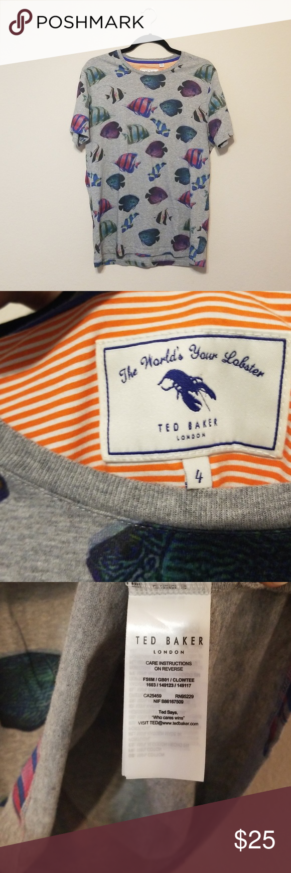 8ce6e64db339 Ted Baker Fish T-Shirt Size 4 Gray Ted Baker shirt with fish print.