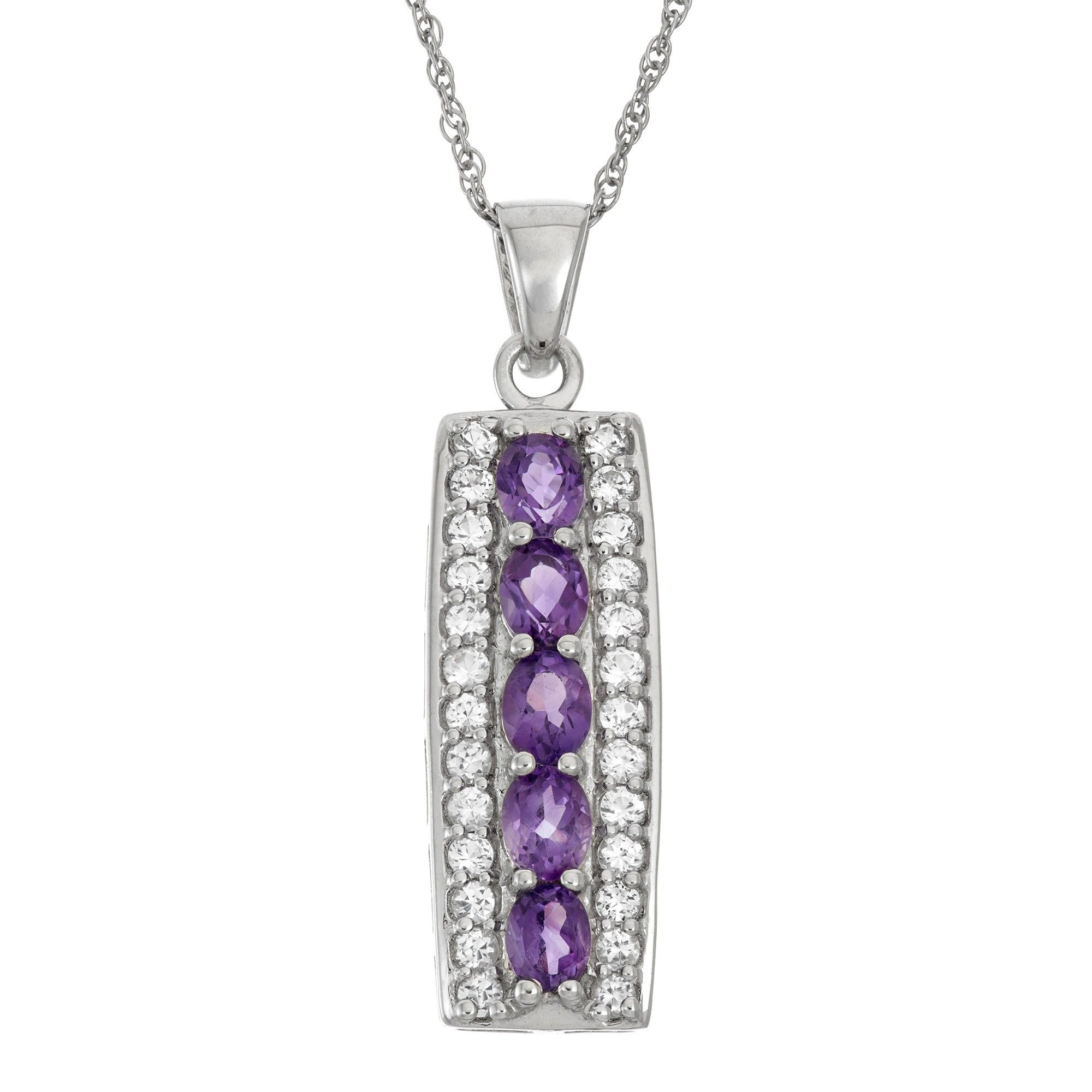 5x4mm Amethyst and White Topaz Rectangle Pendant in 925 Sterling Silver