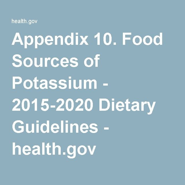 Appendix 10. Food Sources of Potassium - 2015-2020 Dietary Guidelines -  health.